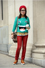 Brick-red-only-jeans-ruby-red-urban-outfitters-hat-green-h-m-sweater