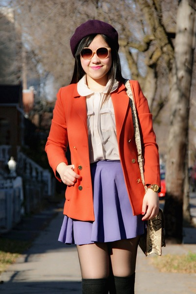 carrot orange H&amp;M blazer - deep purple H&amp;M hat