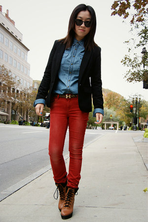 ruby red Only jeans - black H&amp;M blazer - light blue Levis shirt