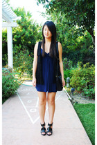 blue Forever 21 dress - black Forever 21 - black Steve Madden shoes - black purs