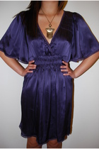 gold f21 necklace - purple Betsey Johnson dress