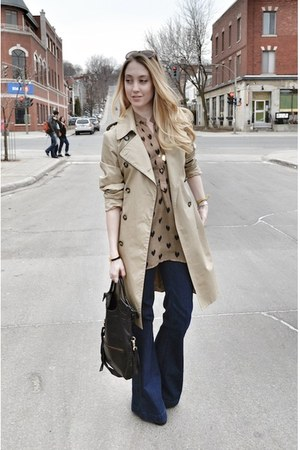 camel RED valentino coat - navy Anlo jeans - black foley  corinna bag