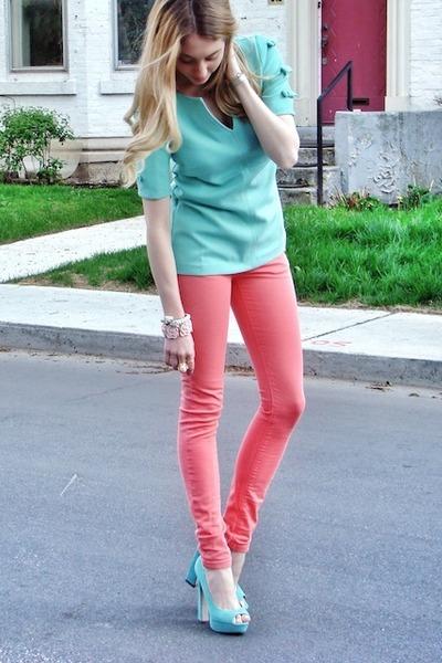 bubble gum Topshop jeans - light blue asoscom top