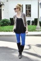 navy Autumn Cashmere cardigan - black Frye boots - navy Ardene jeans