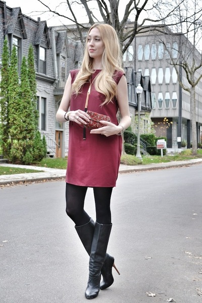 black Bebe boots - brick red Geren Ford dress - crimson vintage bag