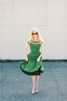 green Tatyana dress - camel asos sunglasses - neutral Christian Louboutin flats