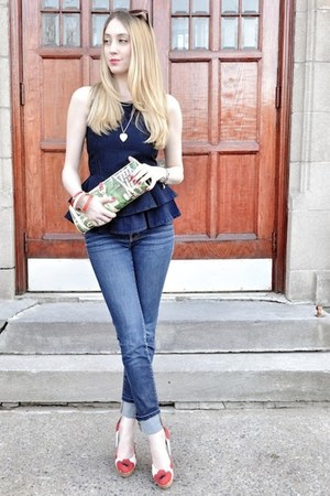navy J Brand jeans - lime green vintage bag - navy asos top