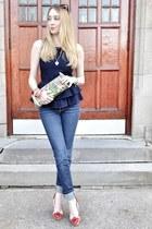 navy J Brand jeans - lime green vintage bag - navy asos top