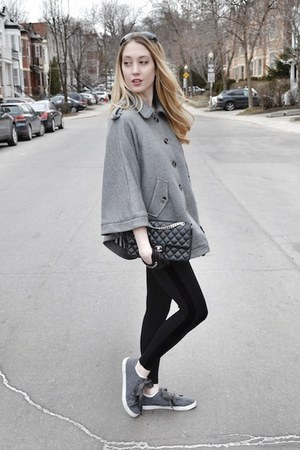 heather gray H&M cape - black David Lerner leggings - black Chanel bag