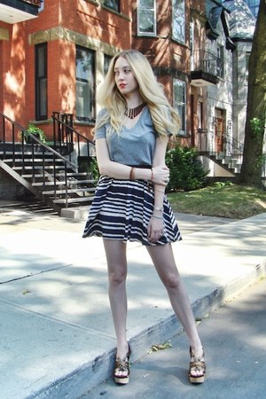 navy H&amp;M skirt - heather gray Target t-shirt - brown Miu Miu heels