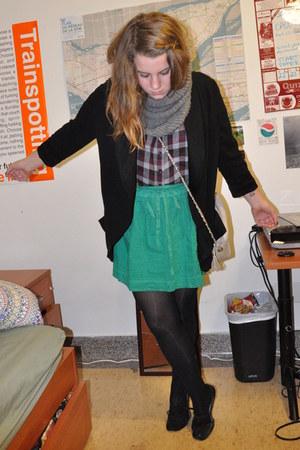 green song skirt - black wilfred blazer - maroon Forever21 shirt - heather gray