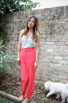 salmon high waisted Forever 21 pants - heather gray Old Navy top