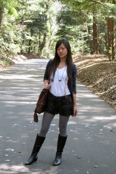 Target tights - kohls t-shirt - Kenneth Cole boots - vintage japan accessories -