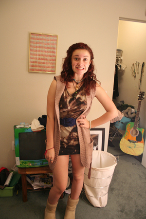 delias vest - American Apparel dress - Blue Moon Vintage belt - Uggs boots