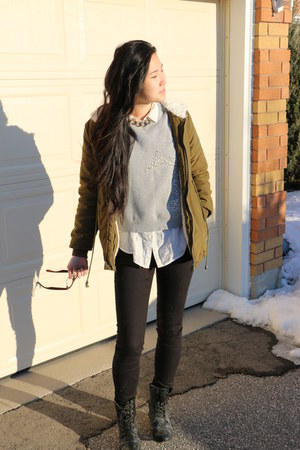 black H&M jeans - army green DressLink jacket - heather gray thrifted sweatshirt