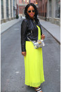 Yellow-victorias-secret-dress-black-leather-biker-bagatelle-jacket
