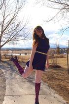 purple Topshop dress - pink H&M tights - blue Rocket Dog shoes - yellow NYC flea