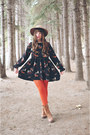 Brown-brown-boots-dna-footwear-boots-black-oasap-dress-camel-topshop-hat