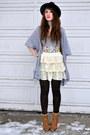 Charcoal-gray-zara-hat-hat-white-skirt-ross-for-less-skirt-light-purple-wet-