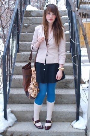 dollar store accessories - H&M blazer - Value Village dress - H&M purse - joe fr