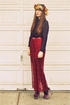 purple vintage blouse - dark green handmade hat - ruby red Forever 21 skirt