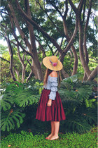 beige flower sunhat vintage hat - maroon hula skirt vintage skirt