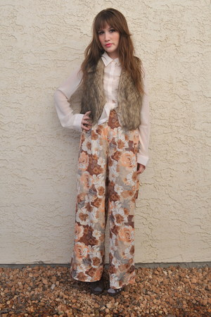 ivory Moon blouse - light brown Forever 21 pants - dark brown faux fur blue note