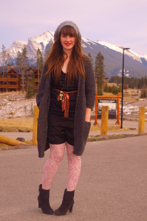 winners sweater - modcloth dress - H&amp;M tights - Value Village boots