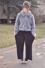 Heather-gray-vintage-jacket-black-wide-leg-american-apparel-pants