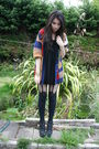 Red-vintage-cardigan-black-henry-holland-stockings-black-office-shoes-blac