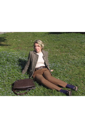 brown Max Mara jacket - beige bohmy mothers shirt - beige Zara pants - brown pat