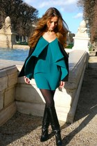 black Zara boots - dark green Urban Outfitters dress