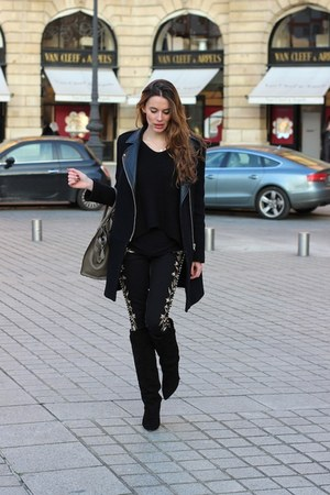 Isabel Marant boots - SANDRO coat - Isabel Marant jeans