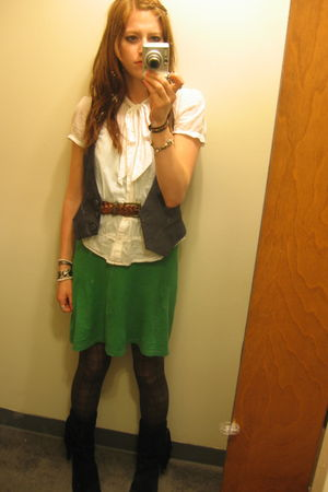 white H&M blouse - green Forever 21 dress - gray Forever 21 vest - black Aldo bo
