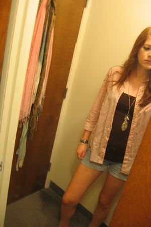 pink Gap blouse - brown Bebe top - blue American Eagle shorts - brown Steve Madd