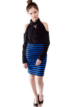 black shoulder cutout Whitecrow online top - blue stripes Whitecrow online skirt