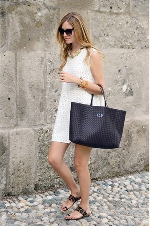 black bag - white dress - black glasses - black sandals