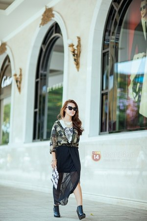 black boots - olive green jacket - white blouse - black skirt - black glasses
