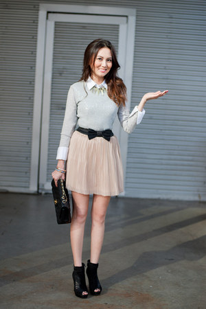 pleats f21 skirt - sam edelman boots - sequins ted baker sweater - Chanel purse