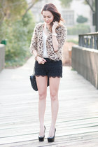 Chanel bag - black lace shorts Akira shorts - leopard print f21 cardigan