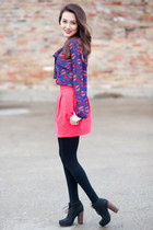 black Dolce Vita boots - hot pink Zara skirt - blue kisses f21 blouse