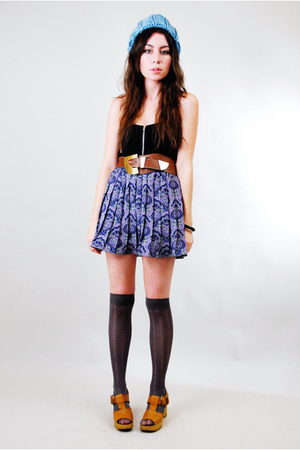 purple vintage skirt - brown vintage shoes - blue Target hat