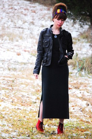 black Zara jacket - black Zara dress - red vintage shoes - blue vintage scarf