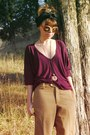 Magenta-michael-stars-blouse-camel-vintage-pants-blue-shoes-burnt-orange-v