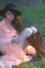 Orange-vintage-dress-brown-farylrobin-boots-black-vintage-hat