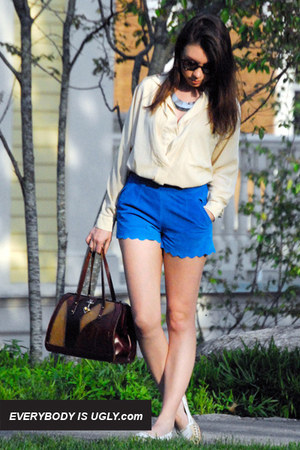 Leather-scallop-shorts-button-down-vintage-blouse