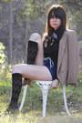 camel vintage blazer - tan t-strap vintage shoes - black vintage shirt