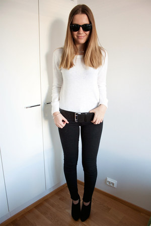 white Nowhere sweater - black H&M boots - black H&M jeans