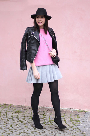 heather gray H&M skirt - bubble gum Zara jumper