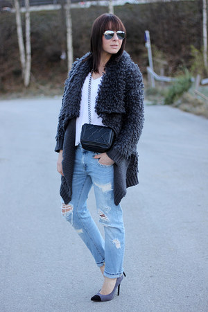 gray OASAP cardigan - light blue Zara jeans